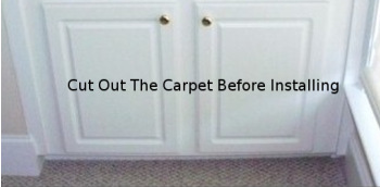 There would be extensive work required to remove this cabinet if the carpet ever gets flooded.