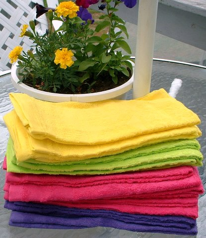Bright Colored Dish Towels With Flowers