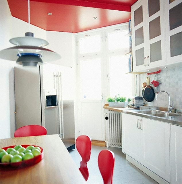 Gallery for kitchen with red accents - White kitchen red accents ...