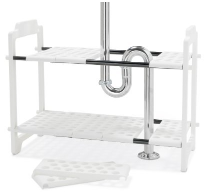 Adjustable Shelf Storage For Around Sink Cabinet Plumbing