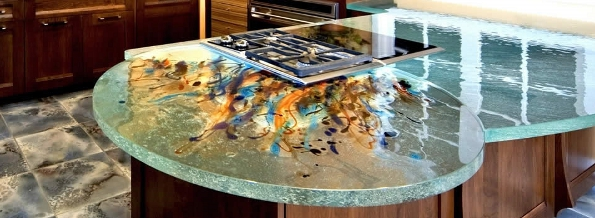 Glass Kitchen Counter Colorful Design Idea