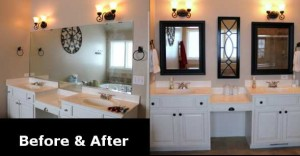 Remodeled Bathroom Mirror Before After